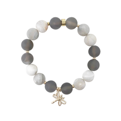 Adapt Bracelet - Aiyana Jewelry Inc - beautiful handcrafted intention jewelry - premium White Lace Agate & Grey Botswana Agate gemstones - TRIO Bracelet Stack