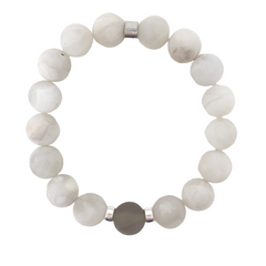 Crown Chakra Bracelet - Aiyana Jewelry Inc - beautiful handcrafted intention jewelry - premium White Lace Agate & Quartz gemstones - TRIO Bracelet Stack