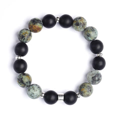 TABULA RASA Bracelet - Aiyana Jewelry Inc - beautiful handcrafted intention jewelry - premium African Turquoise and Black Obsidian gemstones - TRIO Bracelet Stack