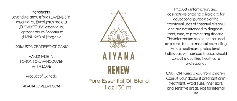 Renew Essential Oil Blend - 30 ml - Aiyanajewelry - beautiful handcrafted intention jewelry