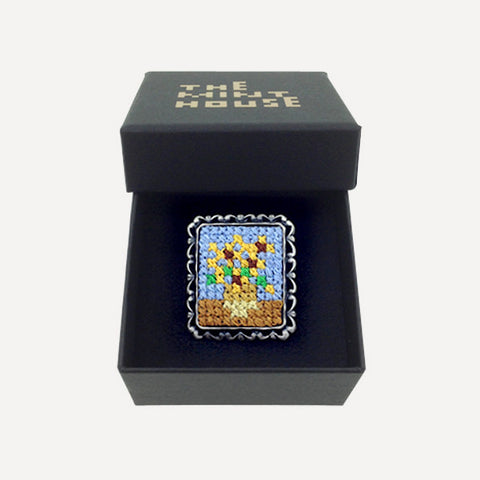 Cross-stitch Masterpiece Brooch (small) Sunflowers - Readymade Objects Shop - 1