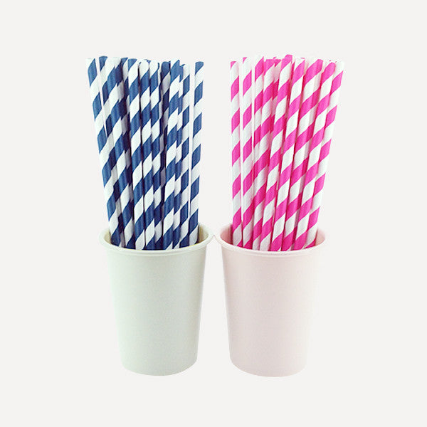 Paper Straw Twill Blue & Pink Set, 50pcs - Readymade Objects Shop