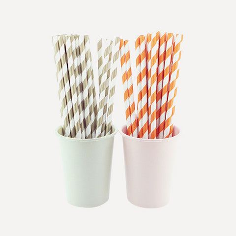Paper Straw Twill Gold & Orange Set, 50pcs - Readymade Objects Shop