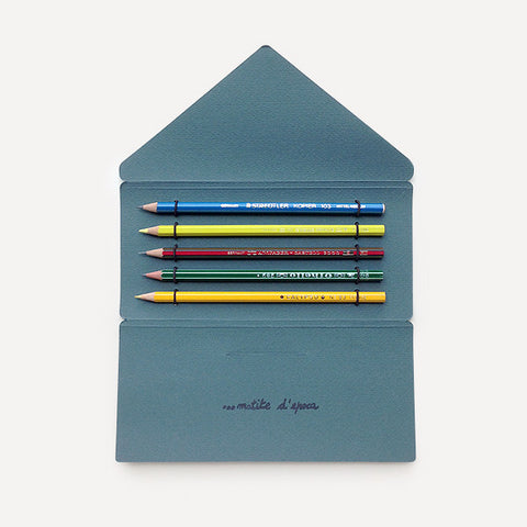 Antica Cartotecnica Vintage Pencils, 5 Pencils in Dark Green Folder - Readymade Objects Shop - 1