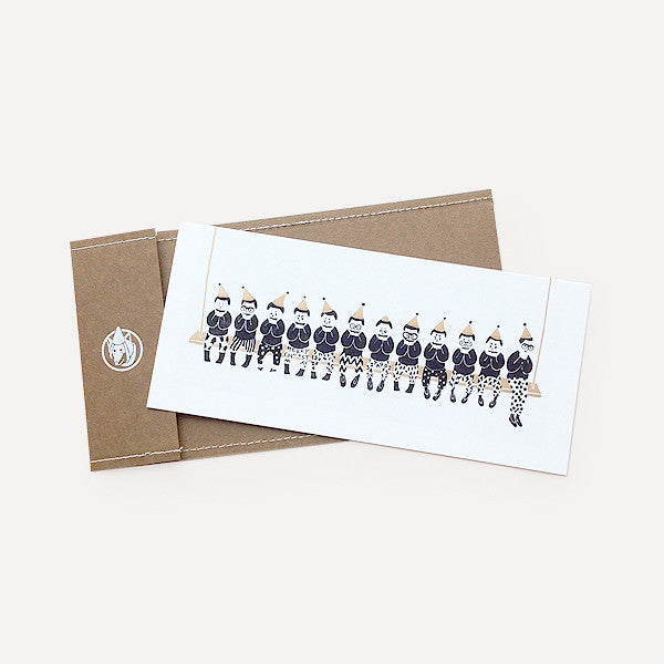 Joyful Little Men Greeting Card, Golden Version - Readymade Objects Shop