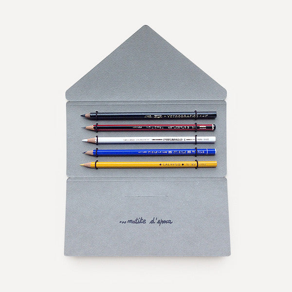 Antica Cartotecnica Vintage Pencils, 5 Pencils in Gray Folder - Readymade Objects Shop - 1
