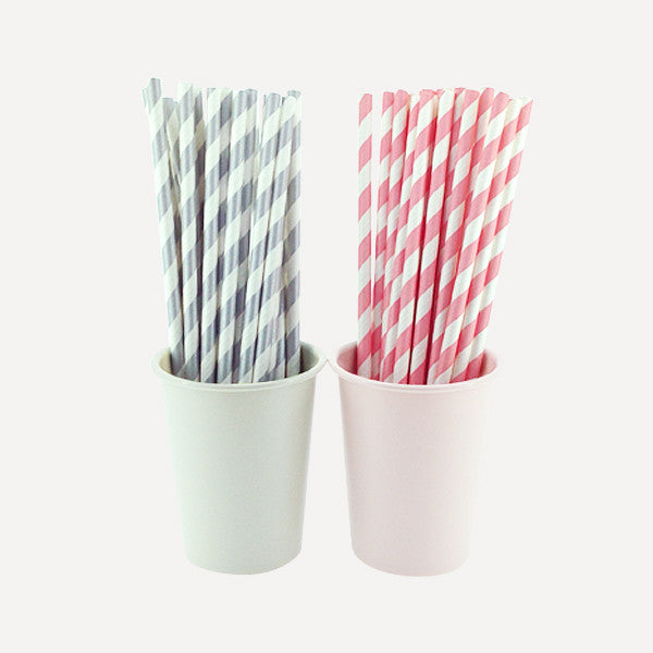 Paper Straw Twill Silver & Baby Pink Set, 50pcs - Readymade Objects Shop