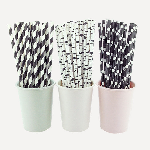Paper Straw Mono Chic Set, 75pcs - Readymade Objects Shop