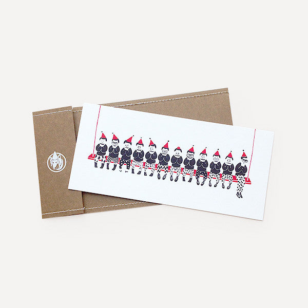 Joyful Little Men Greeting Card, Red Version - Readymade Objects Shop