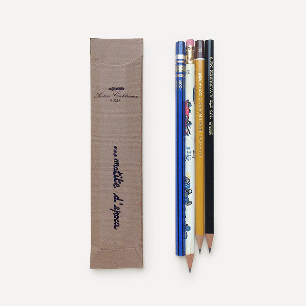 Antica Cartotecnica Vintage Pencils, 4 Pencils in Brown Pocket - Readymade Objects Shop - 2