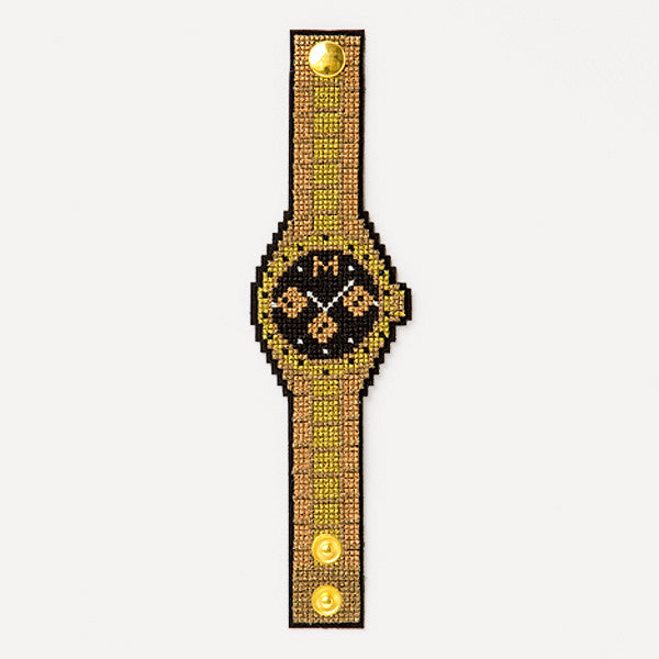 Embroidered 'OLEX!' Bracelet (Gold) - Readymade Objects Shop - 2