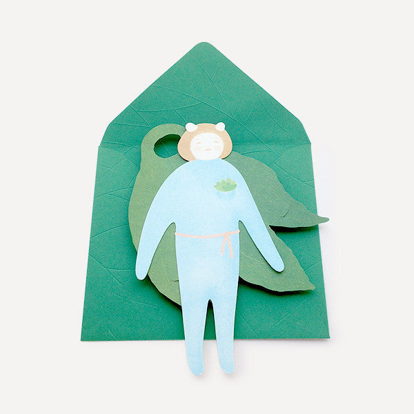 Girl and Leaf Greeting Card - Readymade Objects Shop - 2