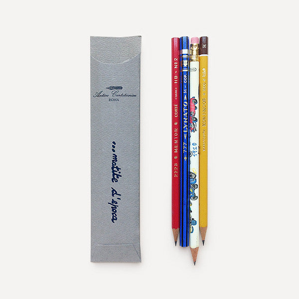Antica Cartotecnica Vintage Pencils, 4 Pencils in Gray Pocket - Readymade Objects Shop - 2