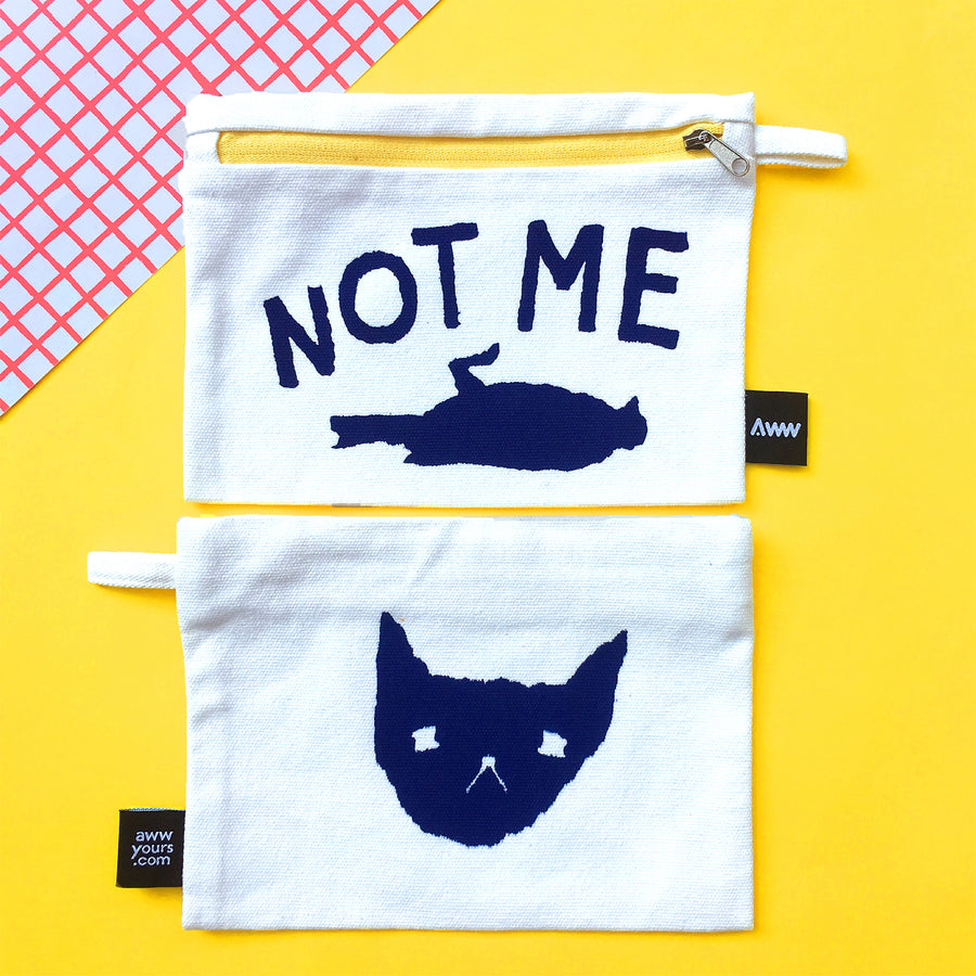 a tote bag and pouch set that's silk screen print by aww magazine features illustration