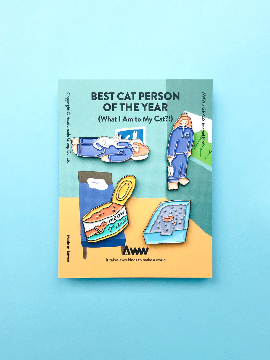 AWW x Grass Enamel Pin: Best Cat Person Of The Year