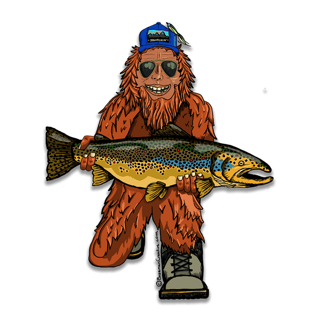Trout Huntin' Squatch Sticker