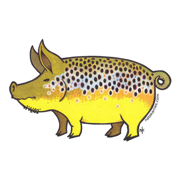 Brown Trout Pig Sticker