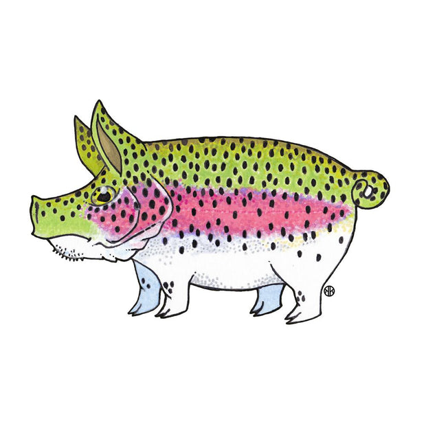 Rainbow Trout Pig Sticker