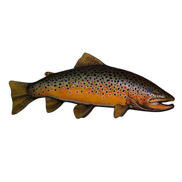 Bern Sundell Original Hand Painted 4' Wooden Trout  Madison River Brown Trout