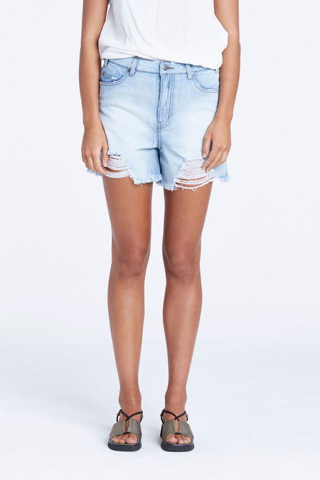 Zed Boyfriend Denim Short - Washed Blue