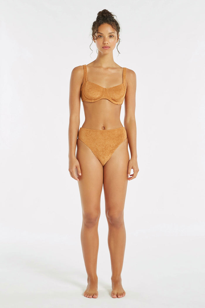 Towelling High Waisted Brief - Terracotta