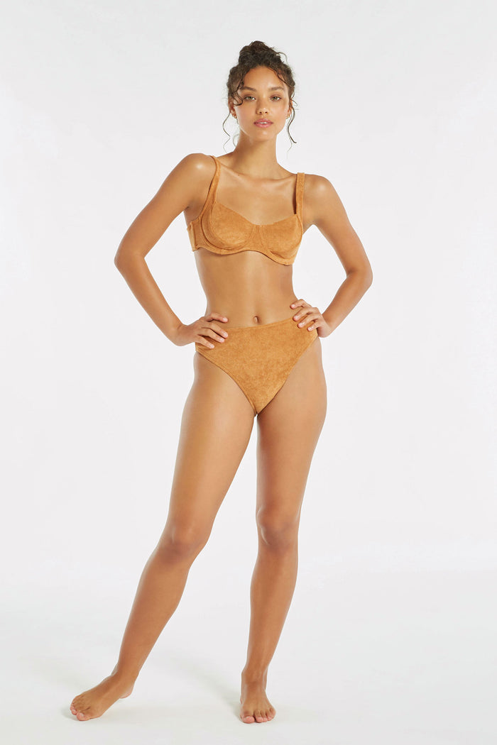 Towelling Bra Cup Top - Terracotta