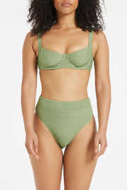 Signature High Waisted Brief - Tallow Green