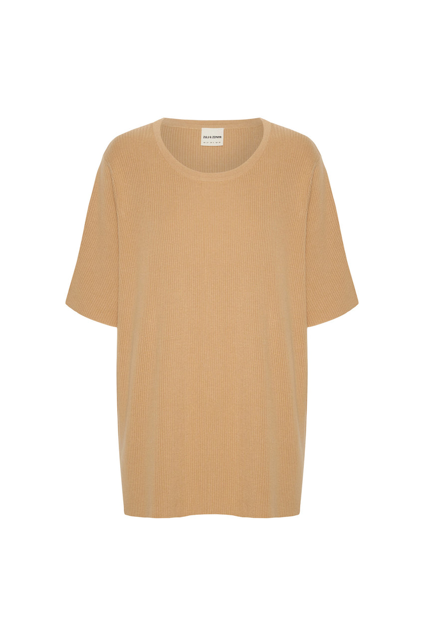 Signature Rib Knit Top - Tan