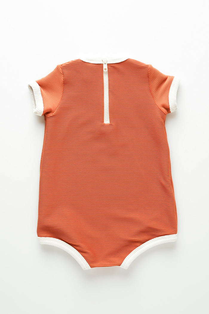Mini Rib Onesie - Rust