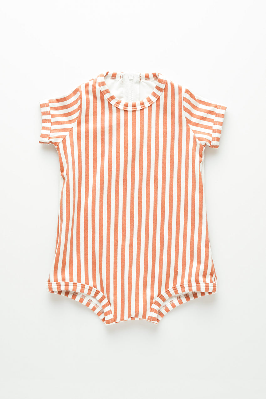 Mini Stripe Onesie - Rust Stripe