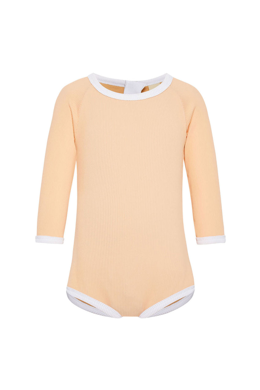 Mini Rib Rashie Onesie - Grapefruit
