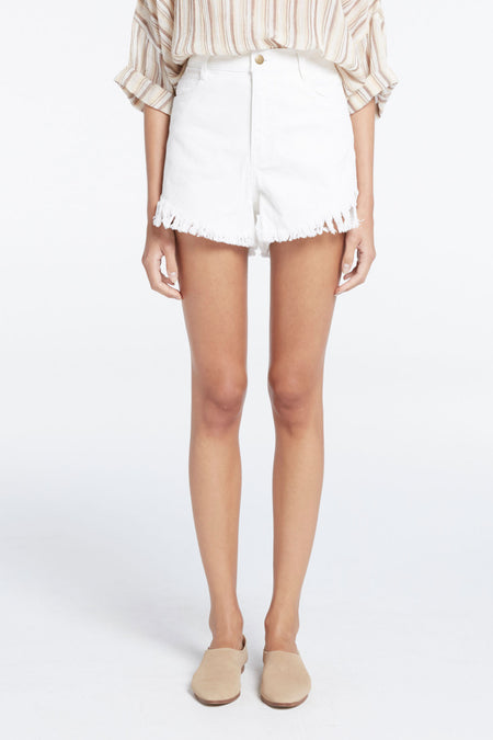 Zed Fray Denim Short - Cream