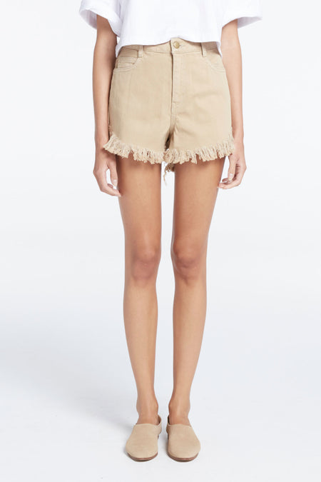 Zed Fray Denim Short - Tan