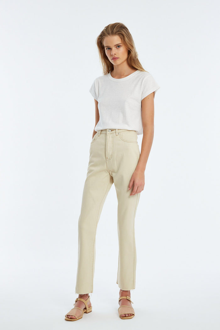 The High Rise Straight Leg Jean - Washed Natural