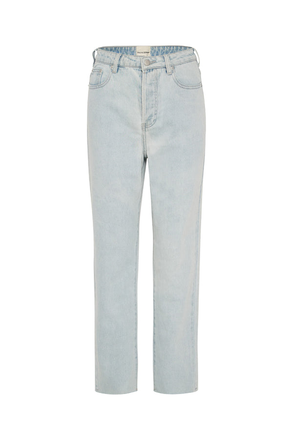 The High Rise Straight Leg Jean - Washed Blue