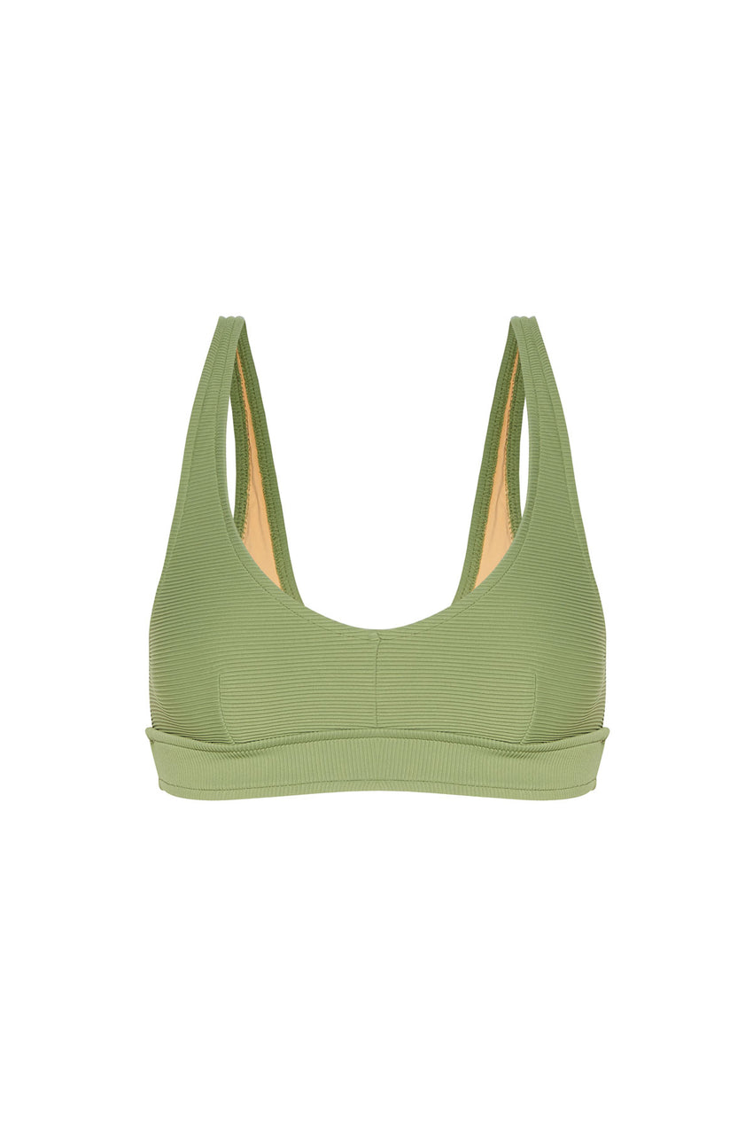 Signature Waistband Bralette Top - Tallow Green