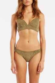 Towelling Tri Cup Top - Khaki