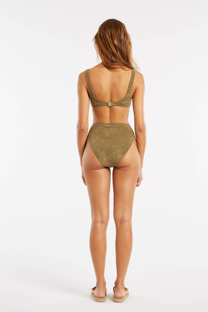Towelling High Waisted Brief - Khaki