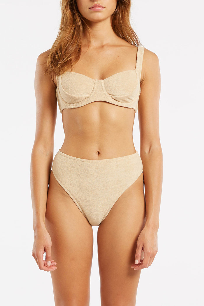 Towelling High Waisted Brief - Natural