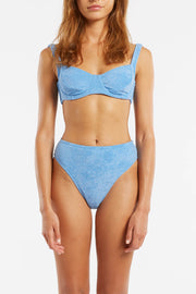 Towelling Bra Cup Top - Blue