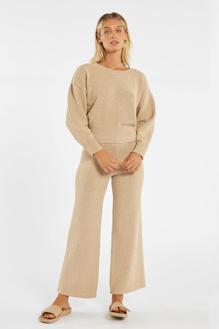 Whitewash Knit Pant - Natural