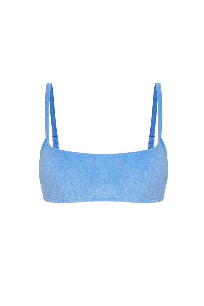 Towelling Bralette Top - Blue