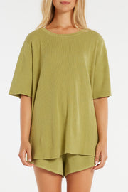 Signature Rib Knit Top - Olive