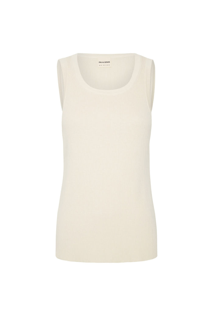 Signature Rib Knit Tank - Warm White