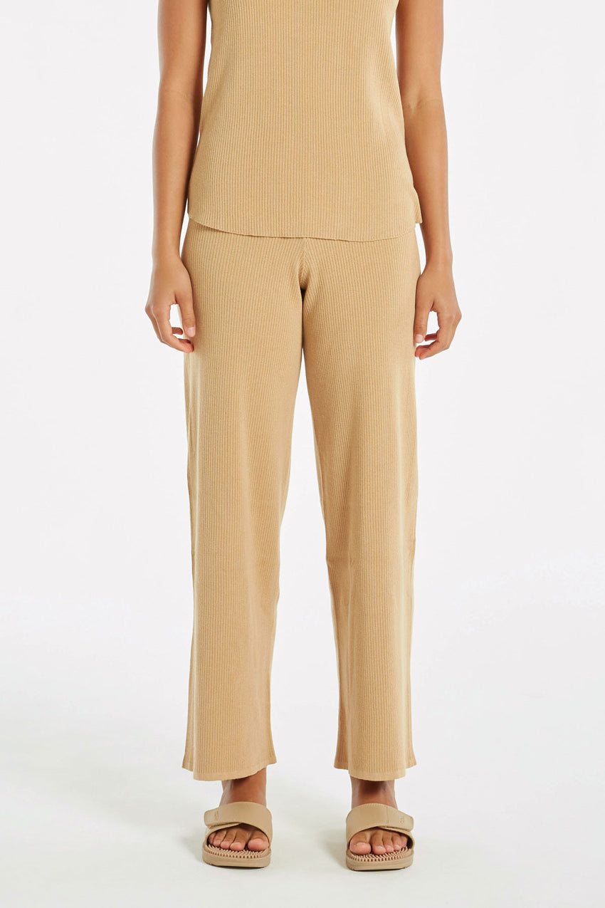 Signature Rib Knit Pant - Tan