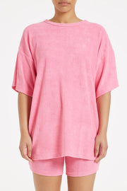 Heat Towelling Boyfriend Tee - Hot Pink