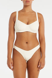 Cord Towelling Bra Cup Top - Cream