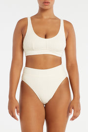 Cord Towelling Waistband Bralette Top - Cream