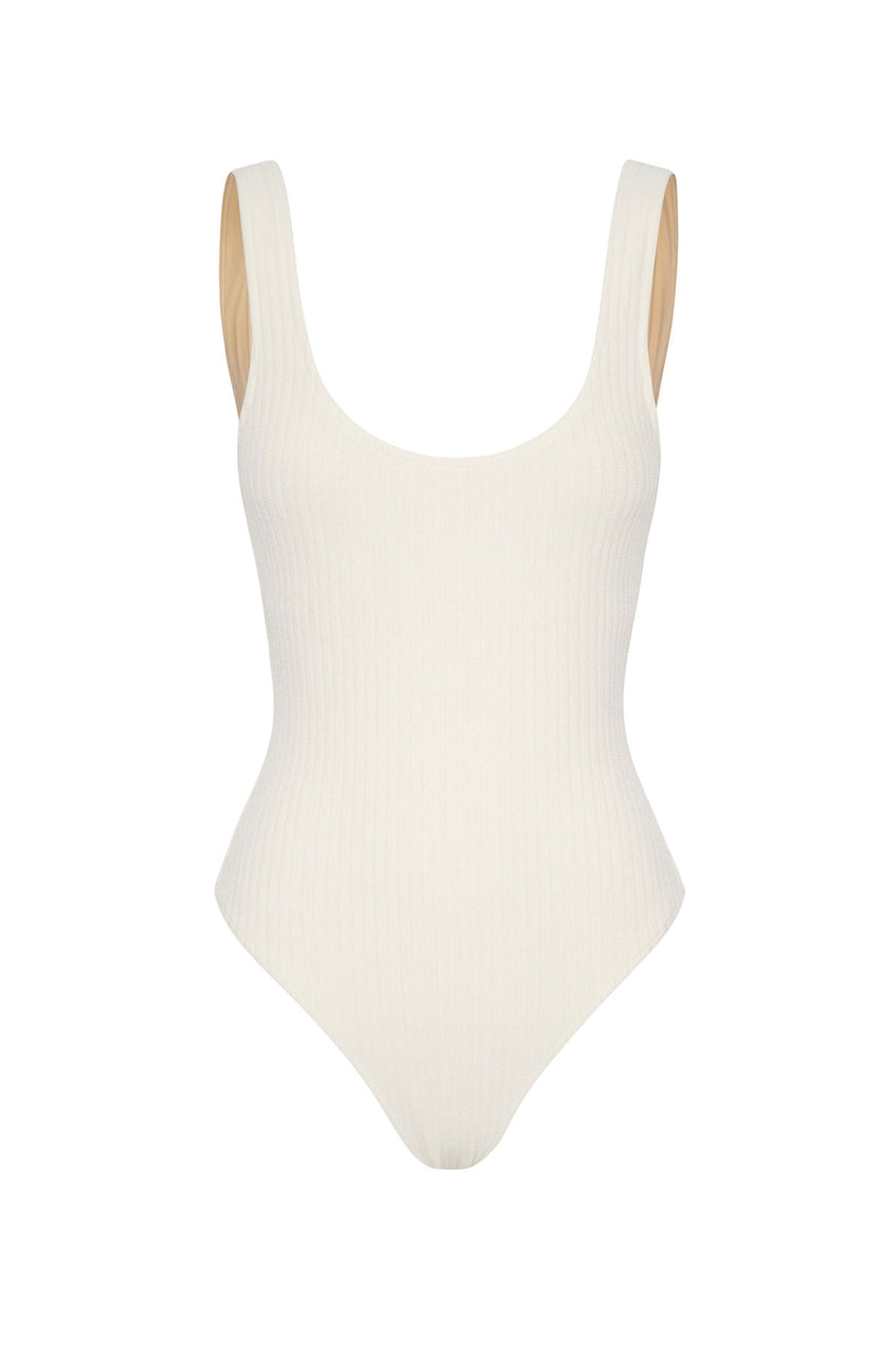 Cord Towelling Scoop Onepiece - Cream