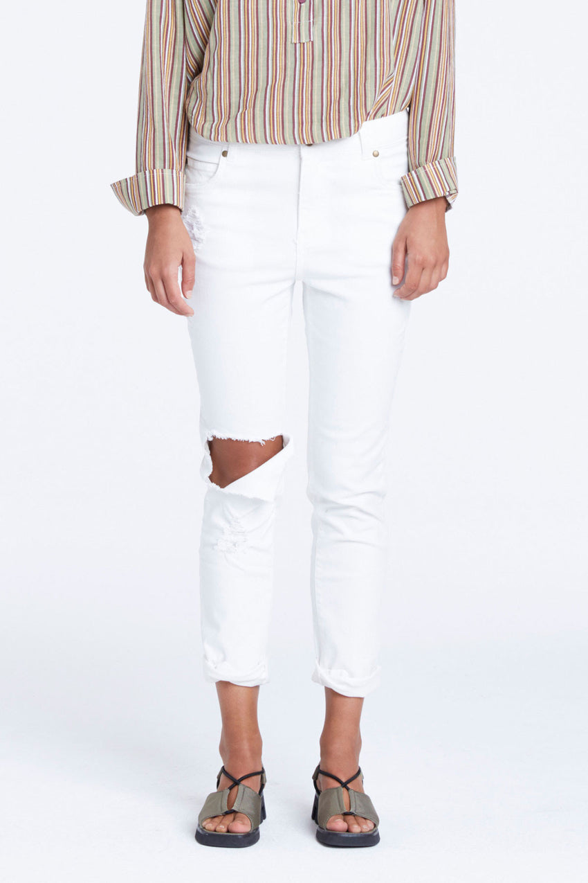 Ripped Zed Jean - Ivory